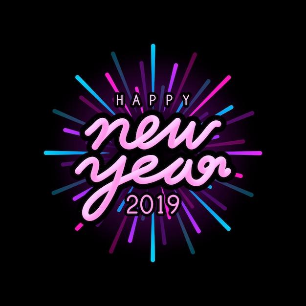 Happy new year 2019 badge vector Free Vector
