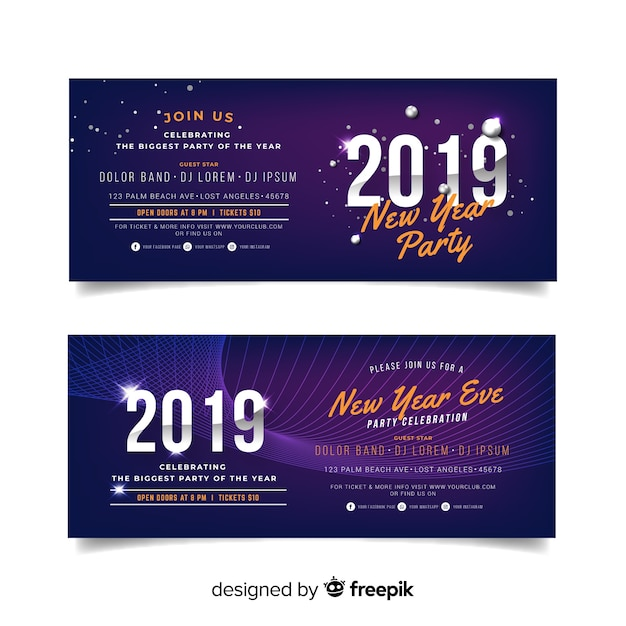 Happy new year 2019 banner Free Vector