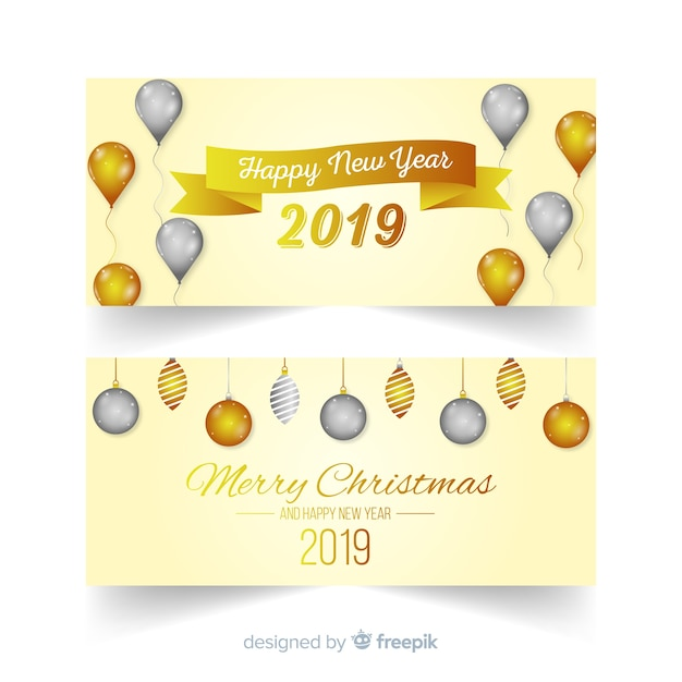 Happy new year 2019 banners Free Vector