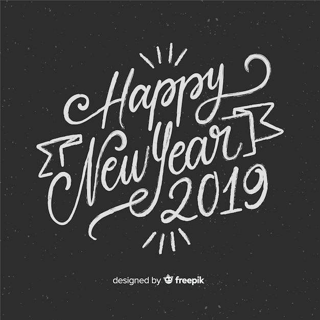 happy new year 2019 black and white background with fancy lettering free vector