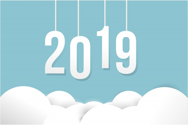Happy new year 2019 card on paper color background. Premium Vector