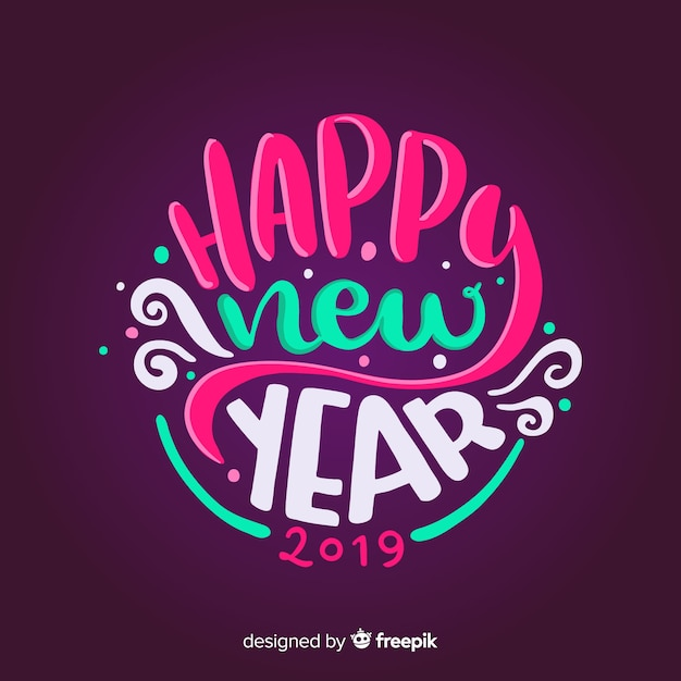 Hny 2019: Happy New Year 2019 Colorful Background With Fancy