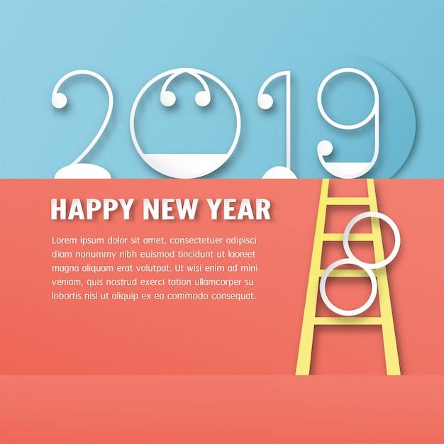 С новым годом 2019 украшение Premium векторы