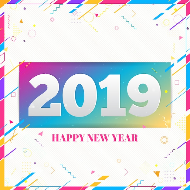 Happy new year 2019 design on modern memphis background