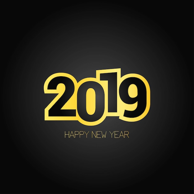 Happy new year 2019 design with dark background Free Vector