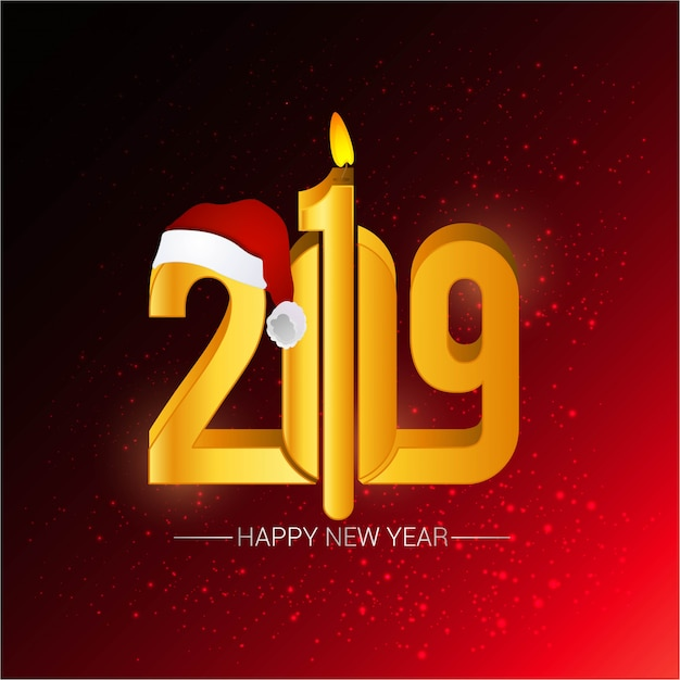 Happy new year 2019 design with red background Free Vector