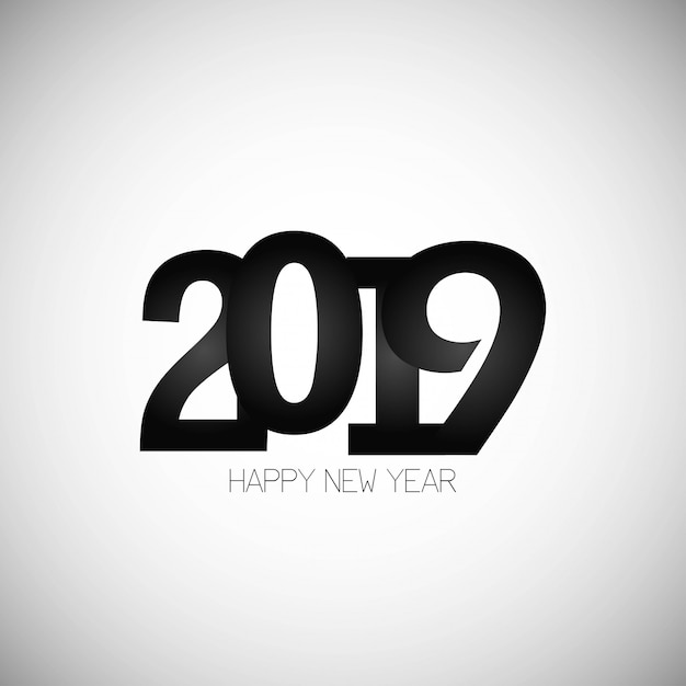 Happy new year 2019 design with white\ background