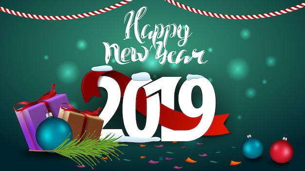 happy new year 2019 green new year greeting card with gifts premium vector