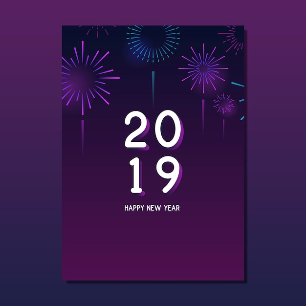Happy new year 2019 greeting card vector Free Vector