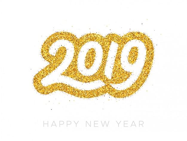 Happy new year 2019 greeting card Premium Vector