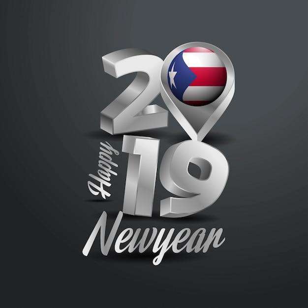 Happy new year 2019 grey typography Free Vector