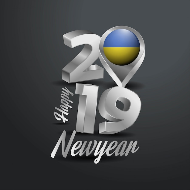 Happy New Year 2019 Grey Typography  Free Vector