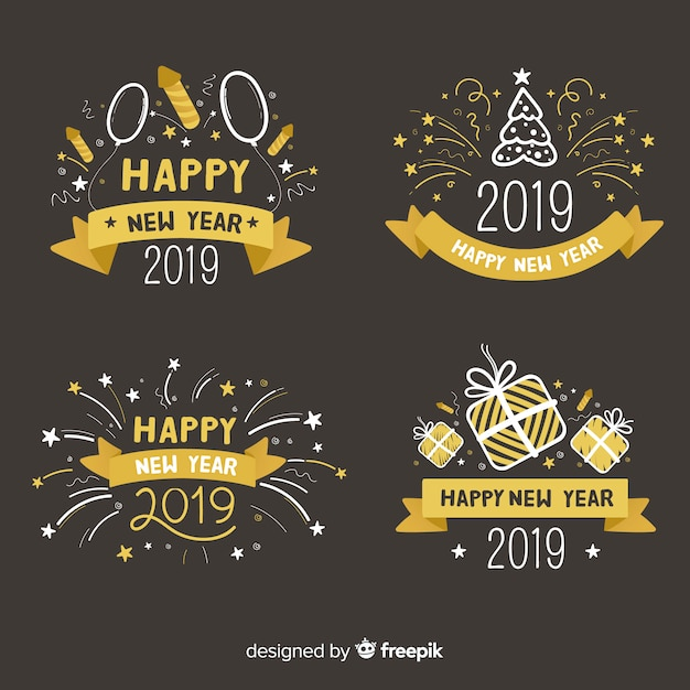 Happy new year 2019 label collection Free Vector
