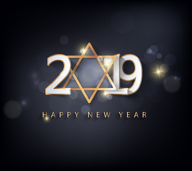 Happy new year 2019 and merry christmas Premium Vector