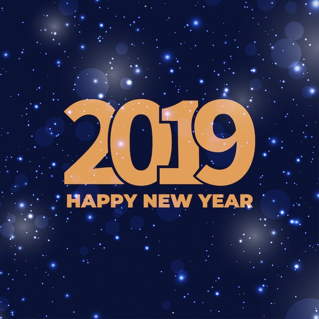 Happy new year 2019 - new year background with abstract bokeh Free Vector