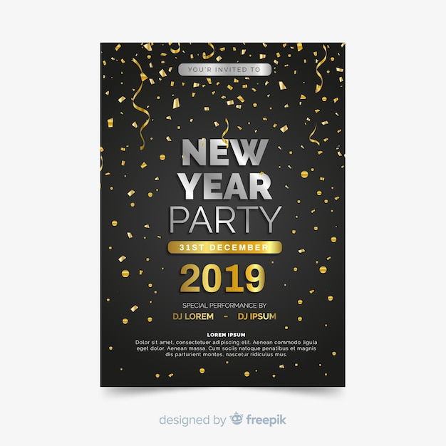Happy new year 2019 party flyer Free Vector
