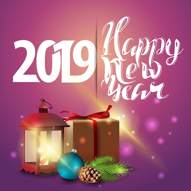 Happy new year 2019 - pink new year greeting card with ...