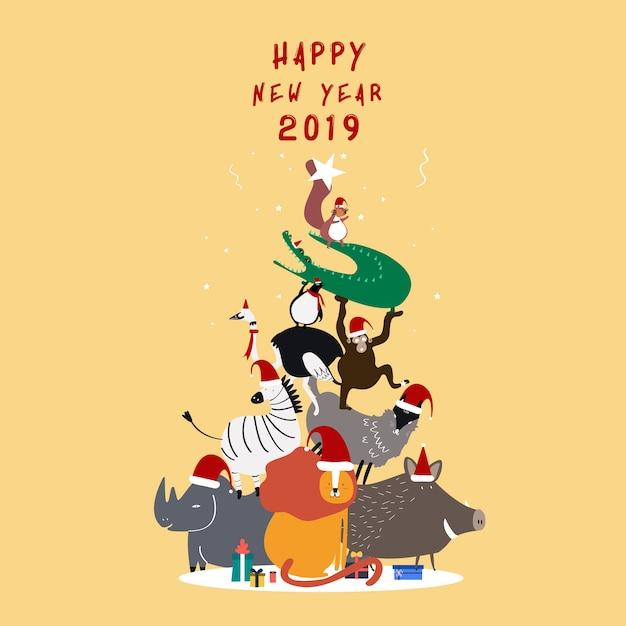 Happy new year 2019 postcard vector Free Vector