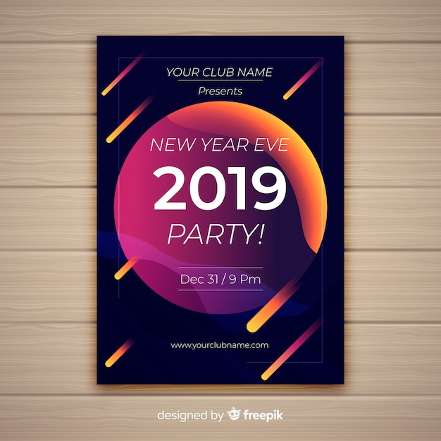 Happy New Year 2019 Poster With Comets Vector Free Download