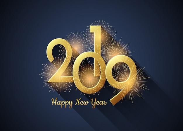 Happy new year 2019 poster Premium Vector
