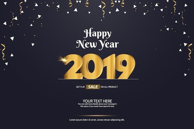 happy new year 2019 sale abstract vector background template design premium vector