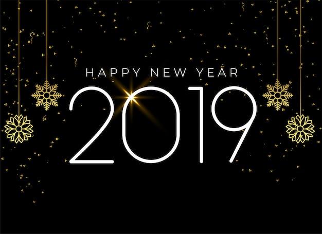 Happy new year 2019 seasonal background Free Vector