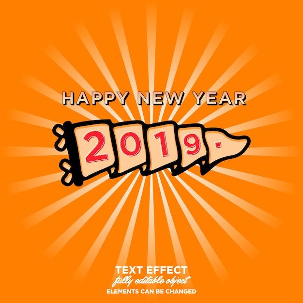 Happy new year 2019 sticker Premium Vector