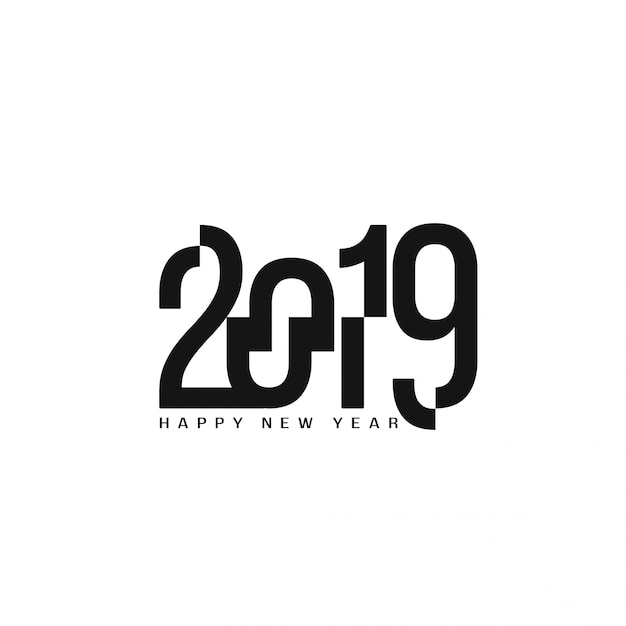 Happy new year 2019 stylish text design background Free Vector
