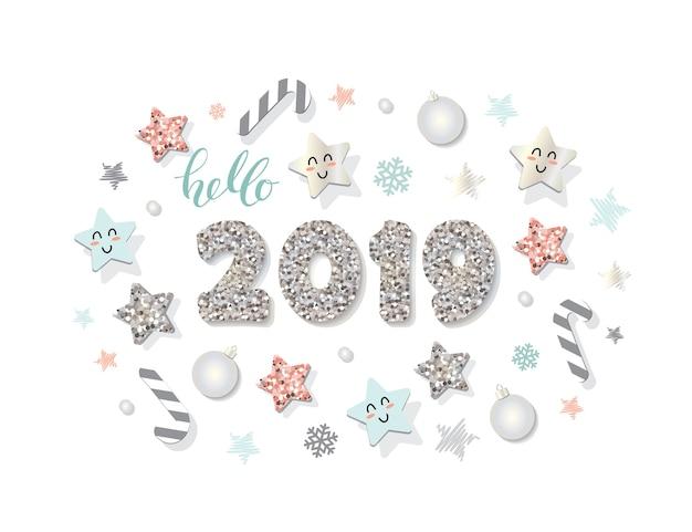 幸せな新しい年2019テンプレート装飾的な要素。 Premiumベクター