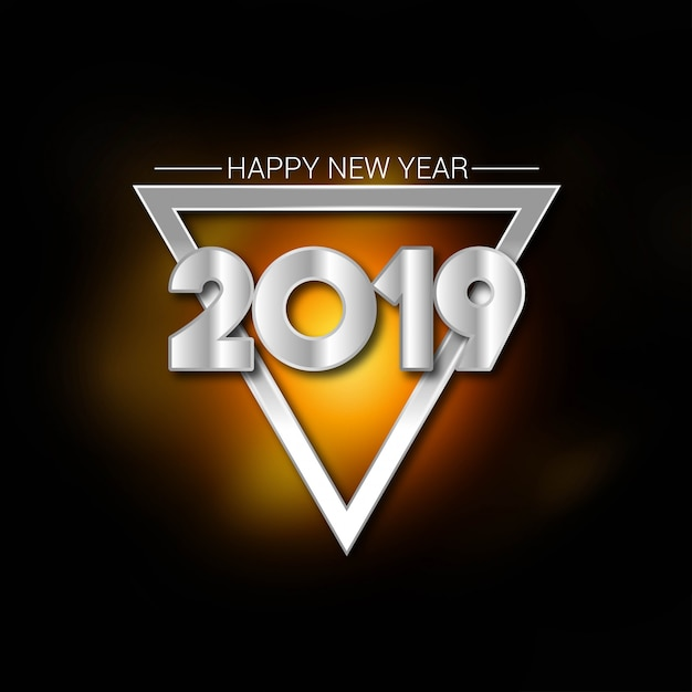 Happy new year 2019 typography with creative design vector Free Vector