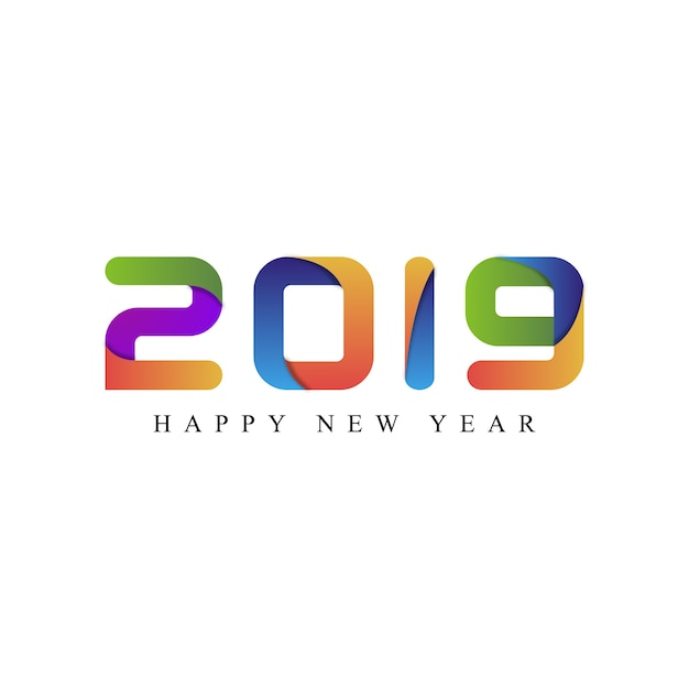 Happy new year 2019 typography Premium Vector