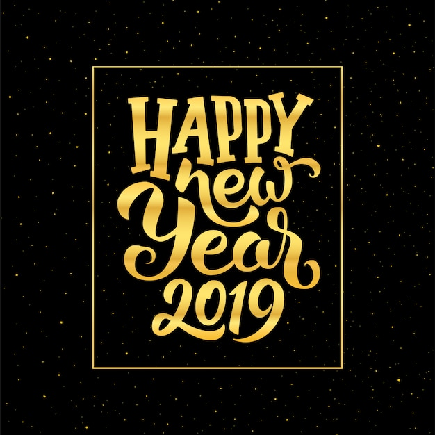 Happy new year 2019 vector greeting card design Vector ...