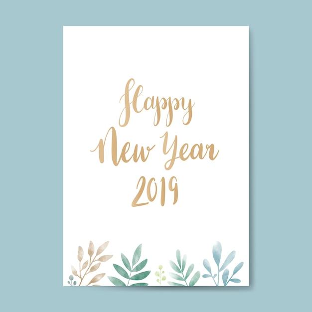 Happy new year 2019 watercolor card design Free Vector