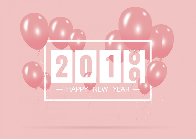 Happy new year 2019 with creative pink balloon concept Premium Vector