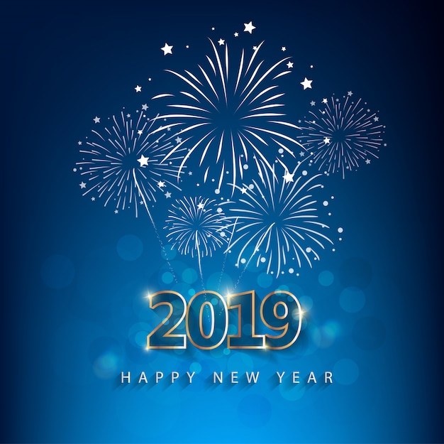 Happy new year 2019 with fireworks background. chienese new year, year of the pig. Premium Vector