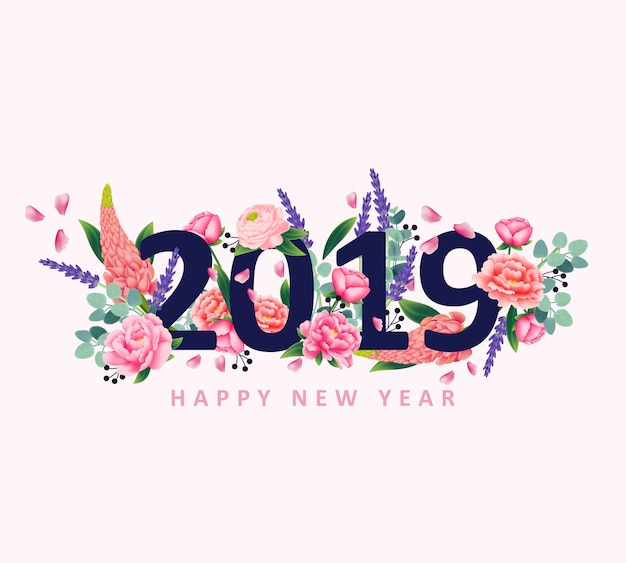 Happy new year 2019 with flower vector Premium Vector