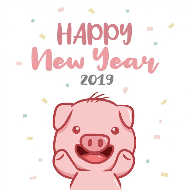 Happy new year 2019 with pig character Premium Vector