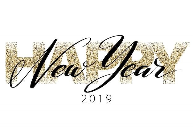 Happy new year 2019 Premium Vector