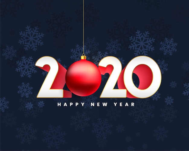 Happy new year 2020 3d style card design Free Vector