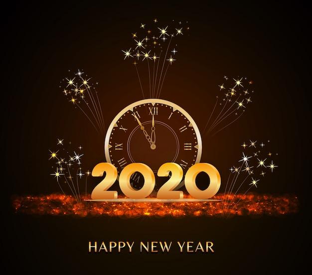 Happy new year 2020, новогодний текст с золотыми 3d цифрами и винтажными часами на праздничном блеске Premium векторы