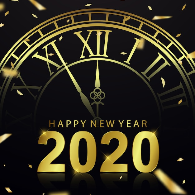 Happy new year 2020 background with clock Premium Vector