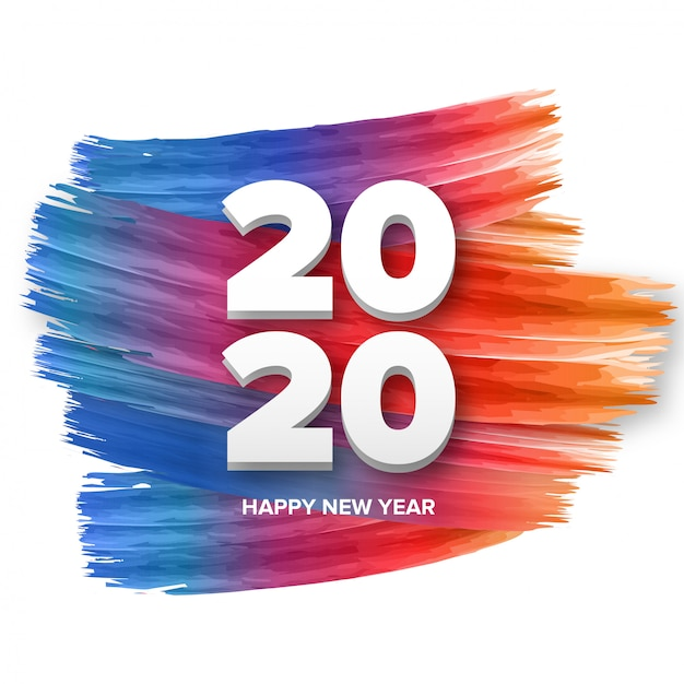 Happy new year 2020 background Free Vector