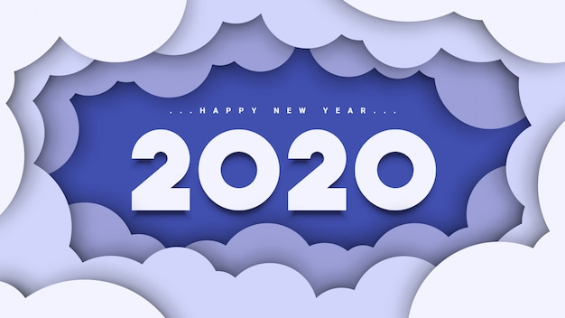 Happy new year 2020 background Premium Vector