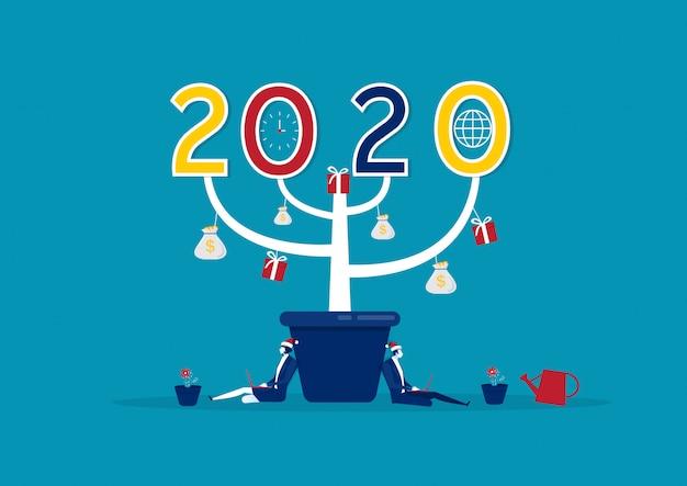Happy new year 2020 big tree Premium Vector