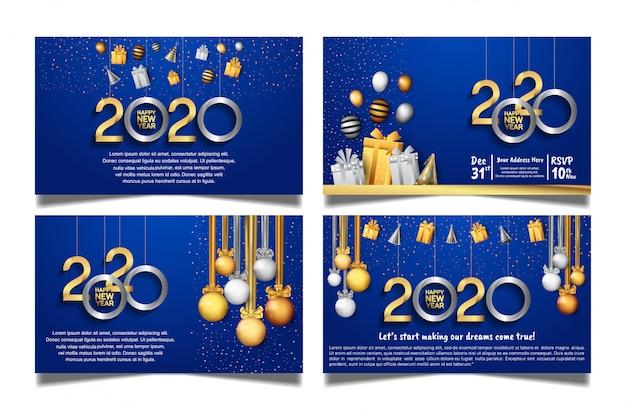 Happy new year 2020 blue background set Premium Vector