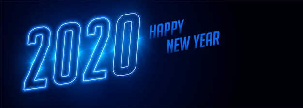 Happy new year 2020 blue neon style banner Free Vector