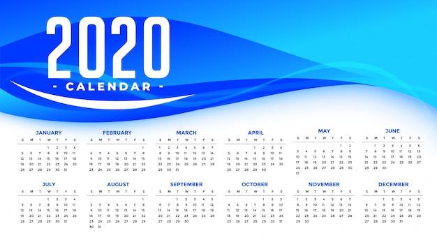抽象的な青い波と新年あけましておめでとうございます2020カレンダーテンプレート 無料ベクター