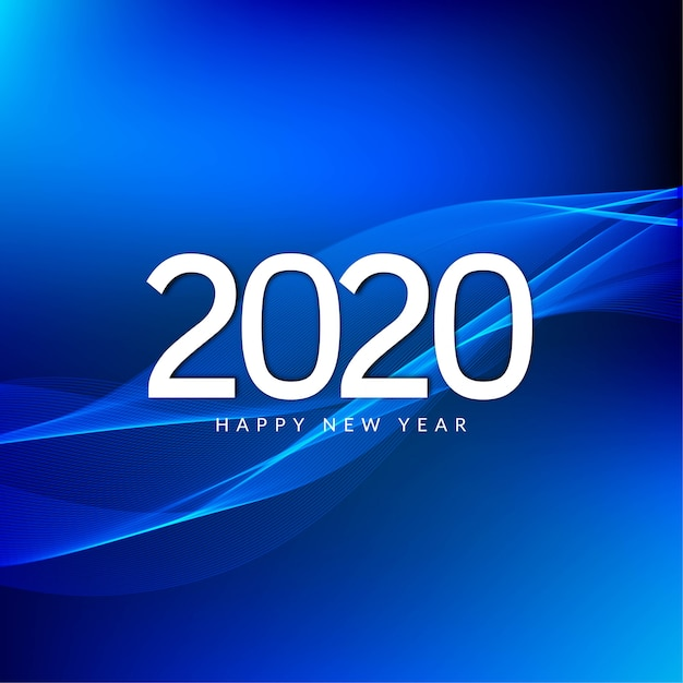 Happy new year 2020 celebration greeting blue Free Vector