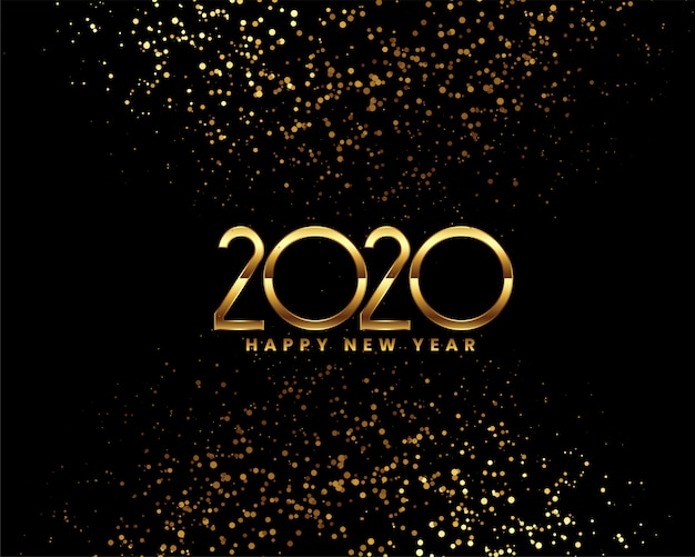 Happy new year 2020 celebration  with golden confetti Free Vector