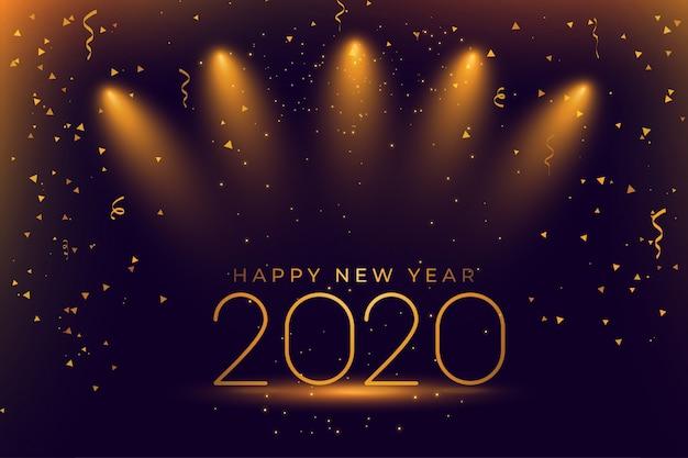 Happy new year 2020 celebration Free Vector